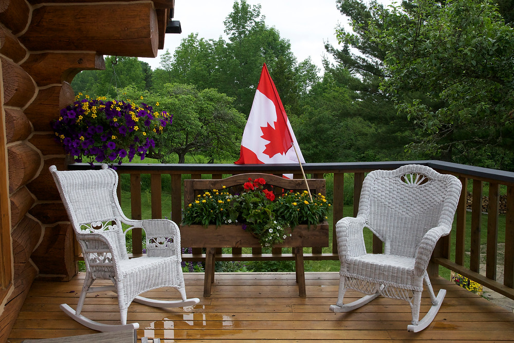 My newly painted chairs, with spray paint added to the Canada Day celebration