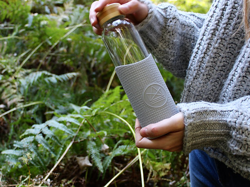 Reusable Glass Bottle - Forever Young (Grey)