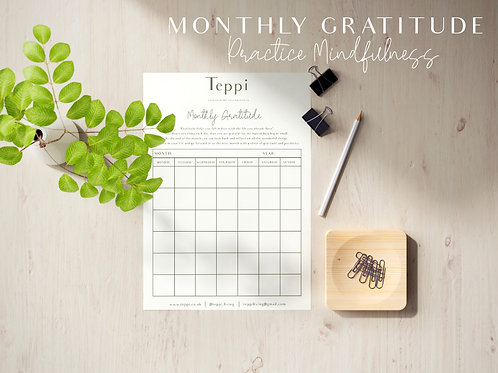 Printable Monthly Gratitude Journal
