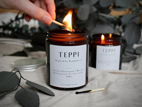 Lemon + Eucalyptus + Benzoin Soy Wax Candle