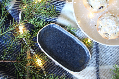 Oval Black Ceramic Dish