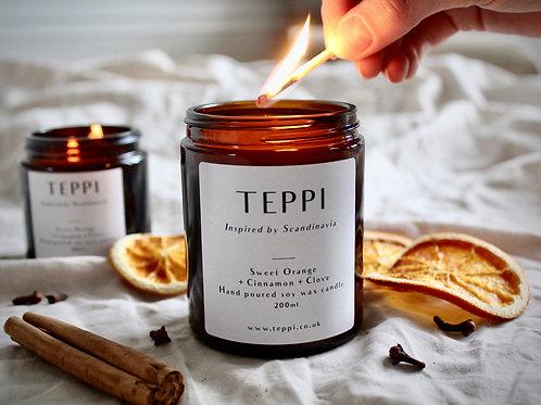 Sweet Orange+ Cinnamon + Clove Soy Wax Candle