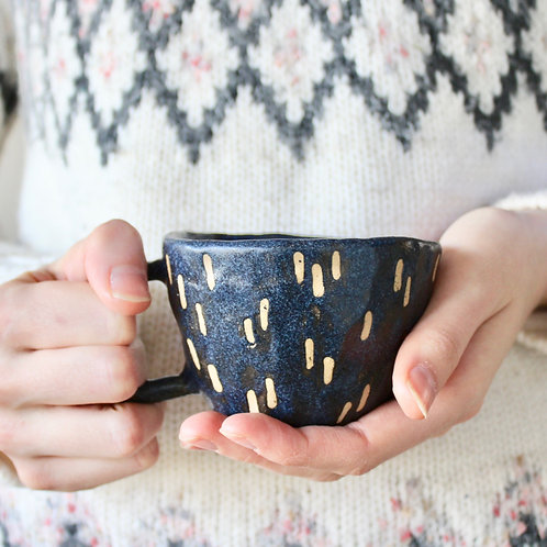 Handmade Ceramic Mug // Black Dashes
