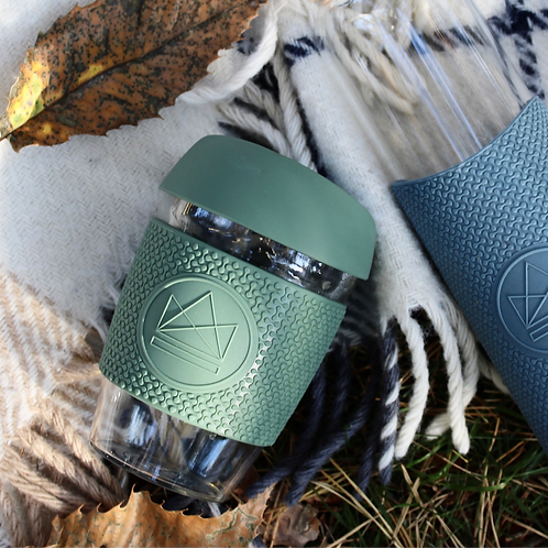 Reusable Glass Coffee Cup - Happy Camper (Sage green)
