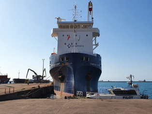Symphony Spirit at the loading berth in Iskenderun