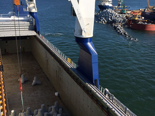 mv Symphony Provider during her first cargo operation for her new project