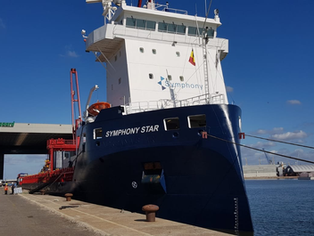 Symphony Star arrived in Antwerp to discharge her cargo