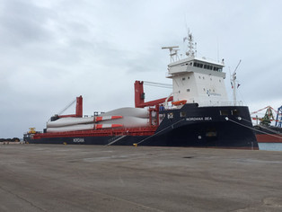 mv Nordana Sea - Taranto (Italy) to Bremerhaven (Germany) with 36 windmill blades (V126-62m)