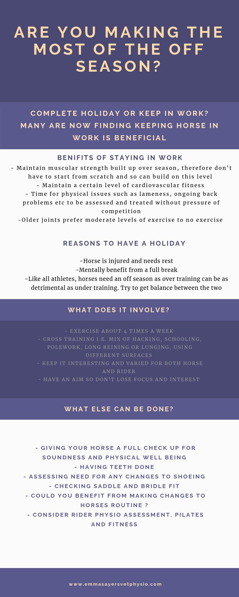 Horse physio off season advice