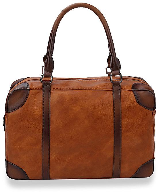 Cognac Two Tone Satchel Handbag