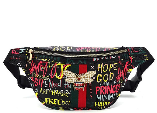 Multi Graffiti Queen Bee Stripe Fanny Pack Waist Bag - Black