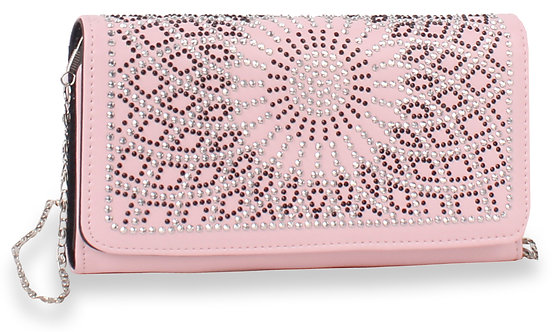 Rhinestone Design Accordion Wallet - Pink