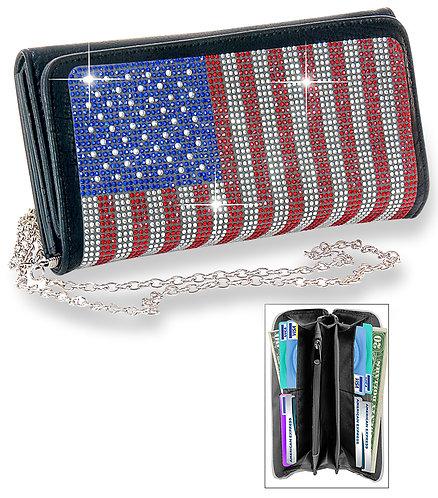 American Flag Bling Wallet Crossbody