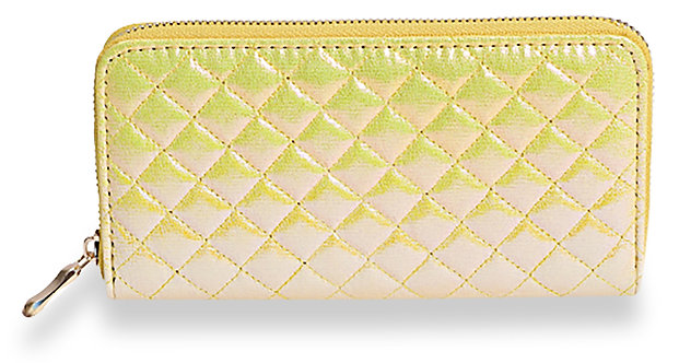 Quilted Accordion Wallet Yellow