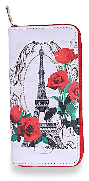 Eiffel Tower Rose Accordion Wallet