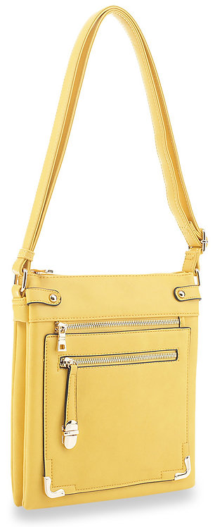 Yellow Accented Front Pocket Crossbody Sling