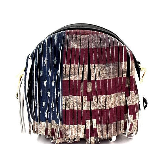 Vintage American Flag Print Western Fringed Round Cross Body