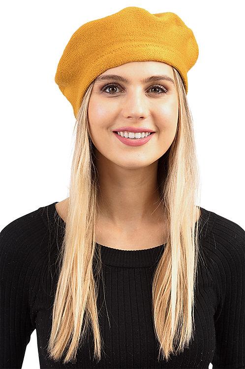 Stylish Stretch Fashion Beret Mustard