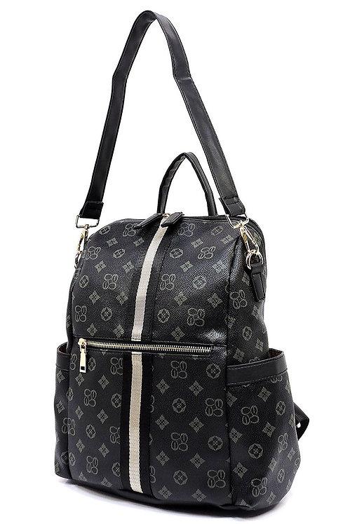 Monogram Queen Bee Striped Convertible Backpack black