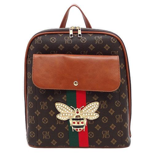 Trendy Queen Bee Stripe Monogram Backpack