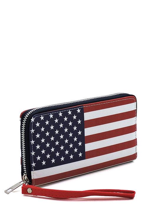 Us Flag Zip Around Wallet Wristlet