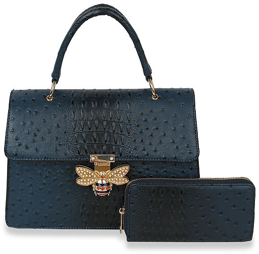 Decorative Front Flap Hand Tote Set Navy