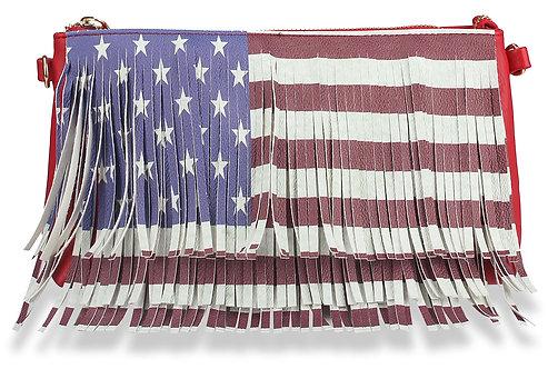 Fringed Stars and Stripes Petite Shoulder Bag