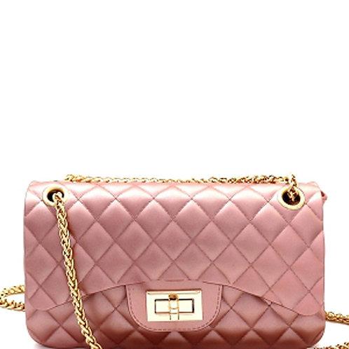Pink Quilted Matte Jelly Shoulder Bag