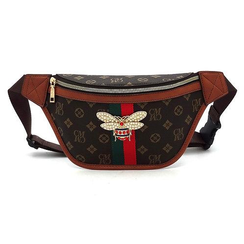 Monogrammed Queen Bee Stripe Fanny Pack Waist Bag