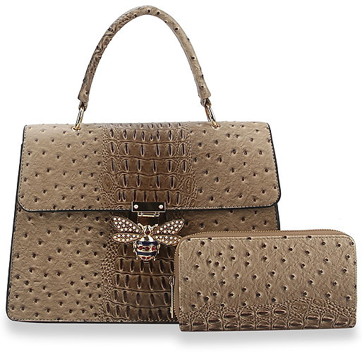 Decorative Front Flap Hand Tote Set Taupe