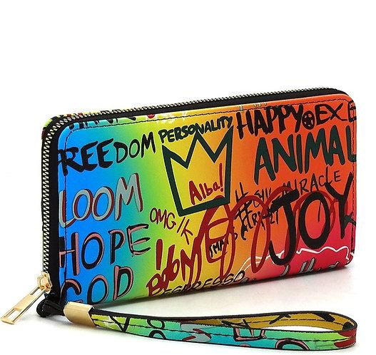 Multi Graffiti Print Zip Around Wallet Wristlet - Blue/Fuchsia