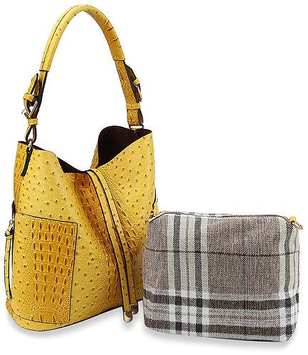 Embossed Hobo Handbag Set
