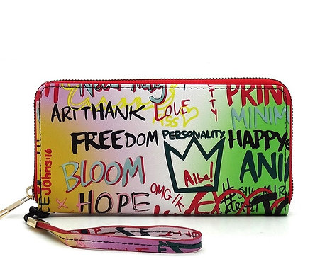 Multi Graffiti Print Zip Around Wallet Wristlet - Green Pink
