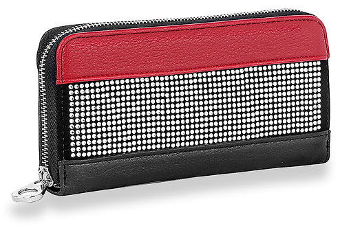 Sparkling Stone Accordion Wallet Red