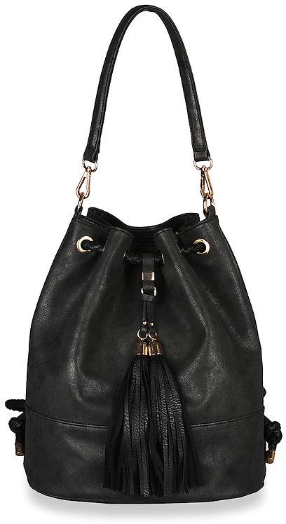 Drawstring Tassel Convertible Hobo Handbag