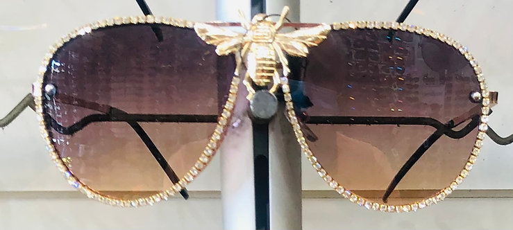 Rhinestones Aviator Bee Accent Gradient Sunglasses - Black
