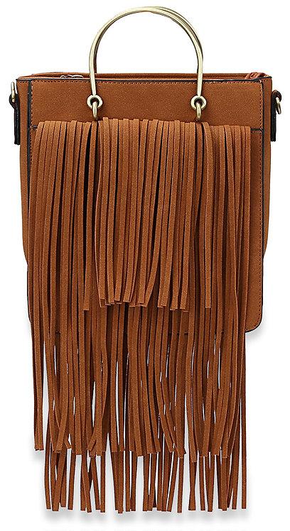 Fringe Accented Fashion Handbag Brown