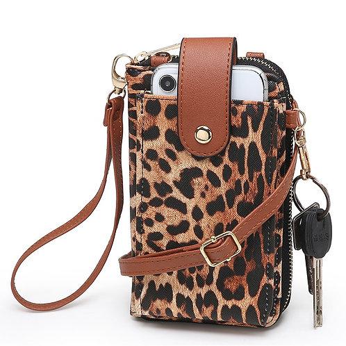 Leopard Crossbody Cell Phone Purse Wallet Wristle