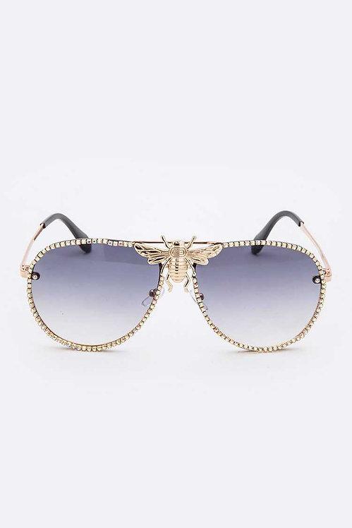 Rhinestones Aviator Bee Accent Gradient Sunglasses (VARIOUS LENS COLORS)