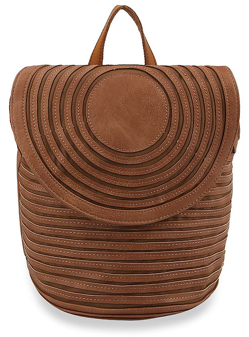 Pleated Design Fashion Backpack - Brown