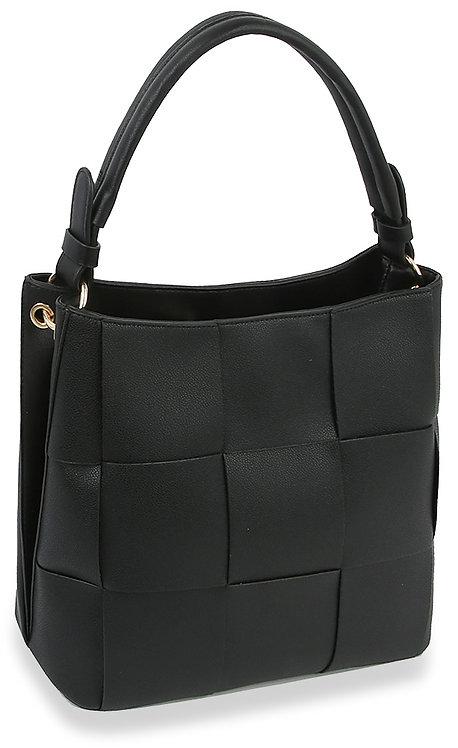 Woven Bucket Style Hobo Handbag