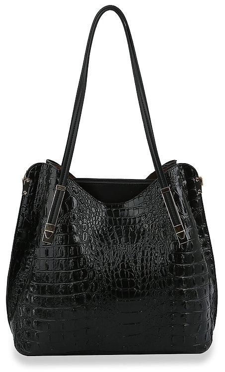 Alligator Embossed Shoulder Bag