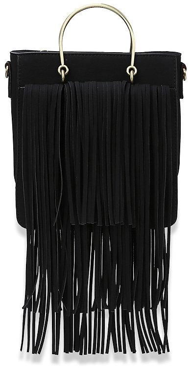 Fringe Accented Fashion Handbag