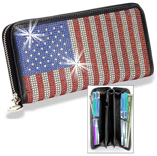 American Flag Bling Wallet