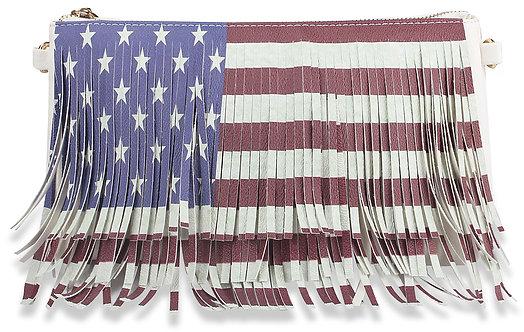 Fringed Stars and Stripes Petite Shoulder Bag - White