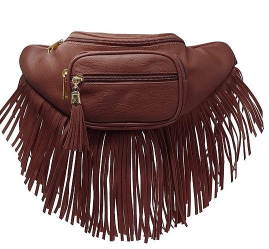 Fashion Fringe Tassel Fanny Pack Waist Bag - Coffee