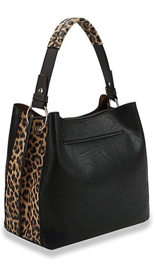 Leopard Accent Hobo Handbag