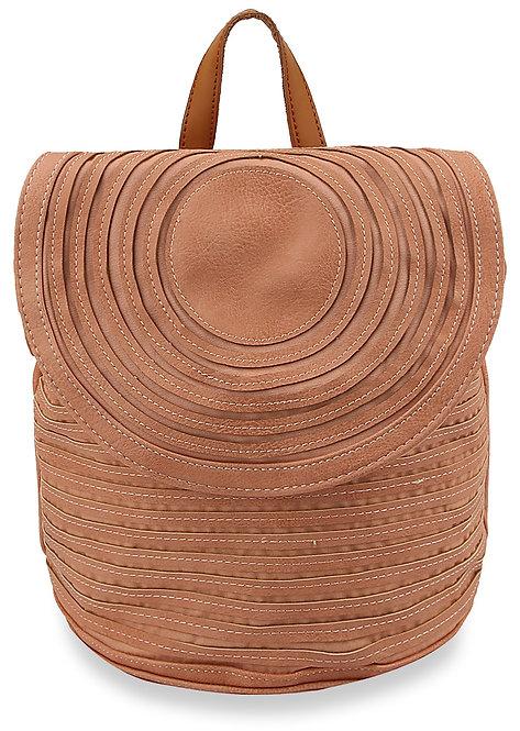 Pleated Design Fashion Backpack - Mauve