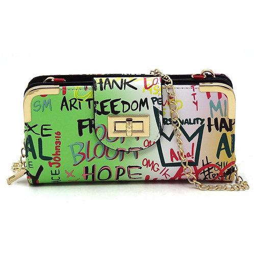 Green Trendy Multi Graffiti Turn Lock Crossbody Wallet