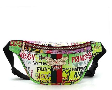 Multi Graffiti Queen Bee Stripe Fanny Pack Waist Bag -Green